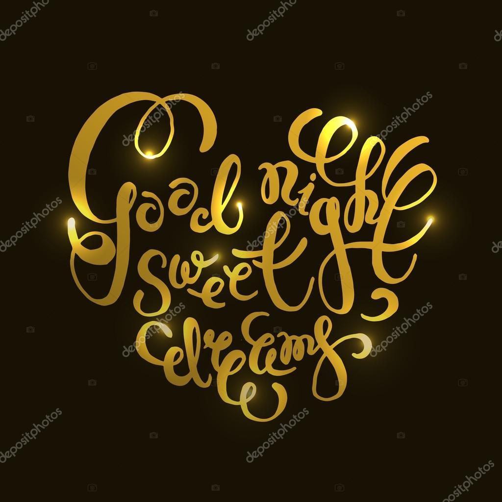Romantische Citaat Good Night Sweet Dreams Stockvector