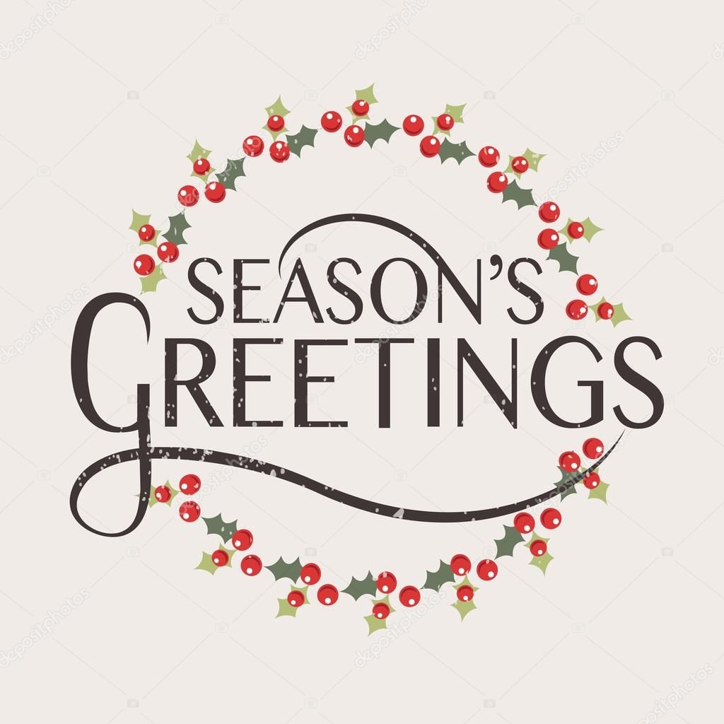 Seasons Greetings Typography For Christmasnew Year Greeting Ca