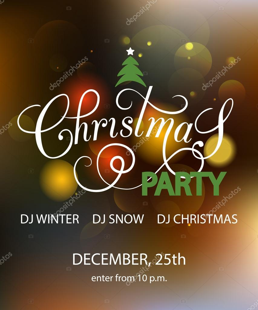 Lettering For Christmas Party Invitation Card Template Stock
