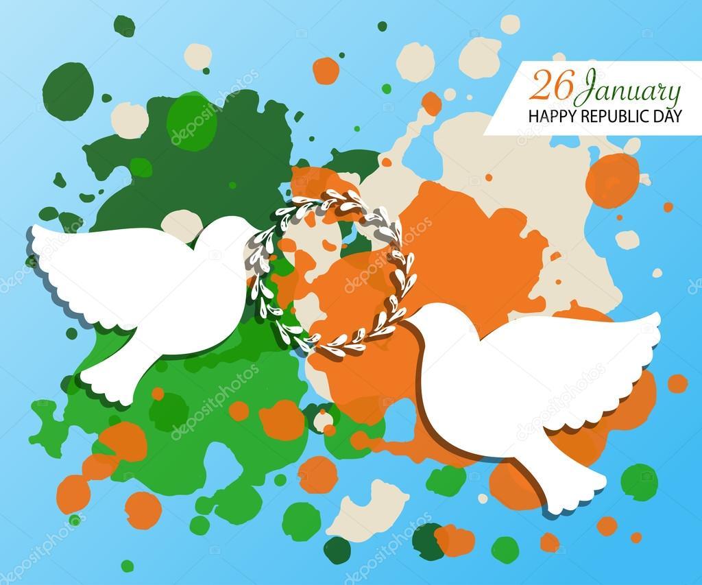 Happy Republic Day India Templates For Postcard Invitation Card