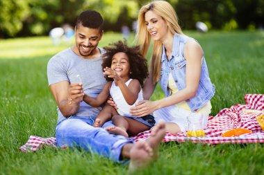 Beautiful cheerful family enjoying picnic