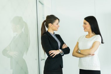 Businesswomen talking in an office
