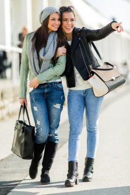 Ladies walking and shopping happily