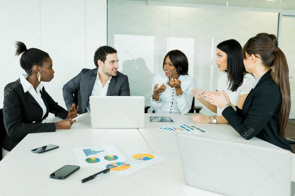 Business brainstorming and exchange of ideas