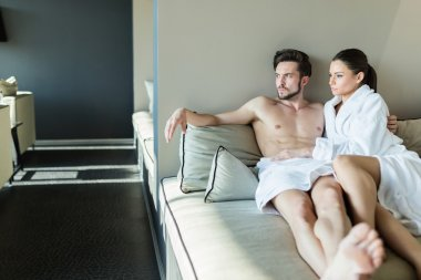 Couple relaxing at a wellness center