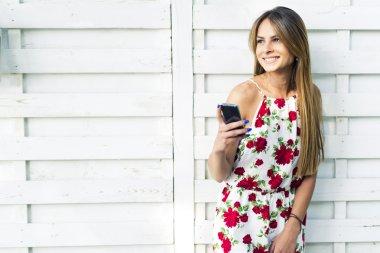 Beautiful woman using phone