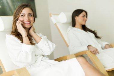 Women relaxing in a spa