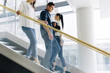 Group of businesspeople on stairs