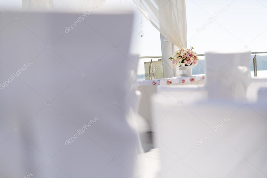Beautiful wedding decoration with roses