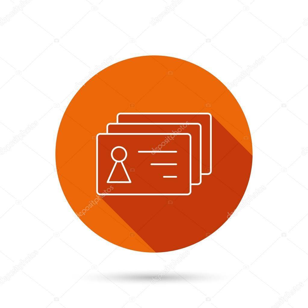 Icône cartes de contact  Signe de badges d'identification