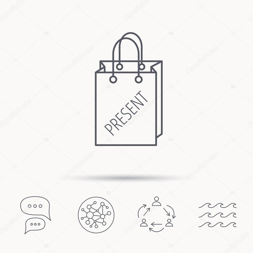 Present shopping bag icon. Gift handbag sign.