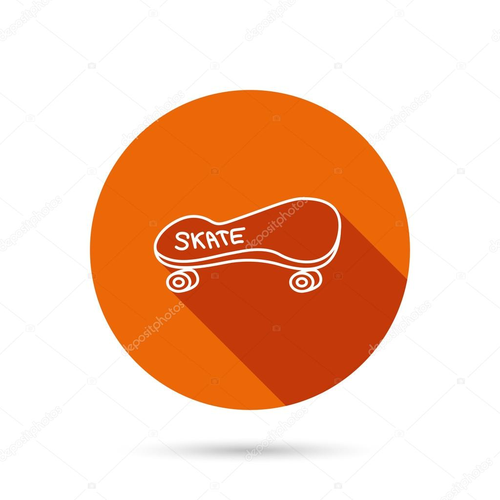d1f32e2751c Skateboard icon. Skating sport sign. Skate with wheels symbol. Round orange  web button with shadow.