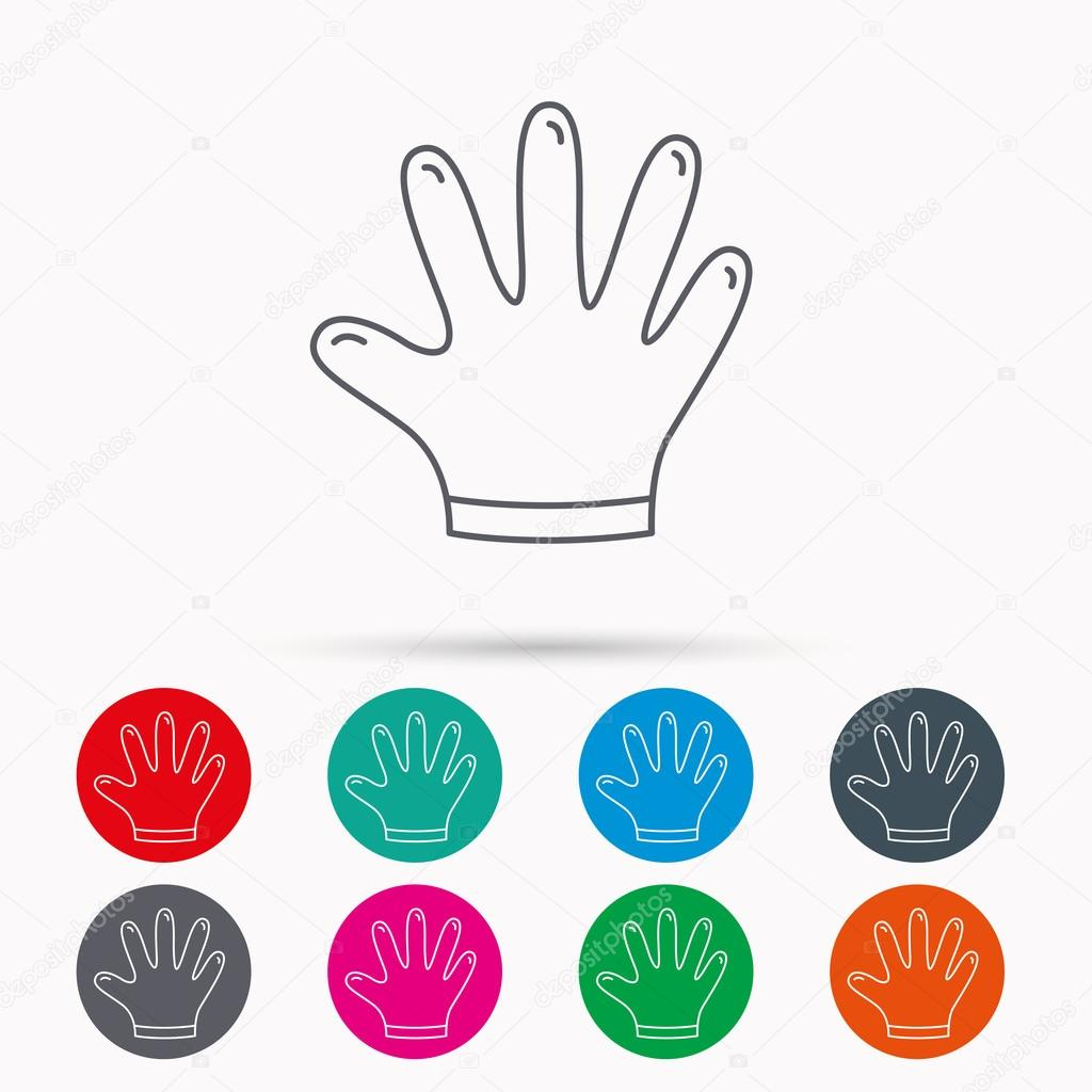 Rubber gloves icon latex hand protection sign stock vector latex hand protection sign housework cleaning equipment symbol linear icons in circles on white background vector by tanyastock biocorpaavc