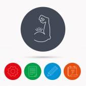 Kétfejű izom izom ikonra. Testépítő erős kar jele