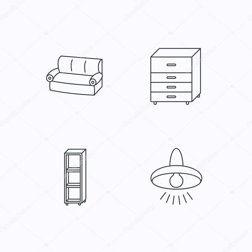 Sofa Deckenleuchte Und Regale Symbole Stockvektor C Tanyastock