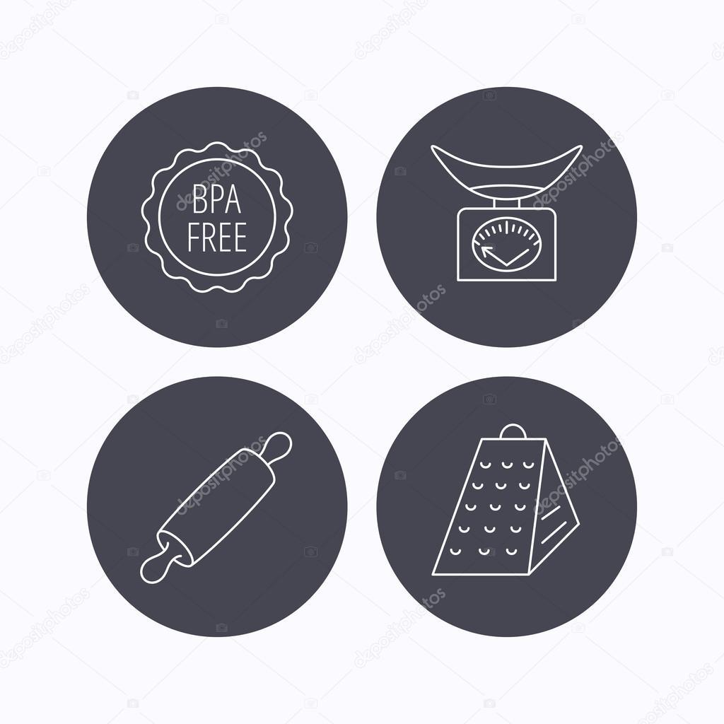Bilancia da cucina, grattugia icone e mattarello — Vettoriali ...