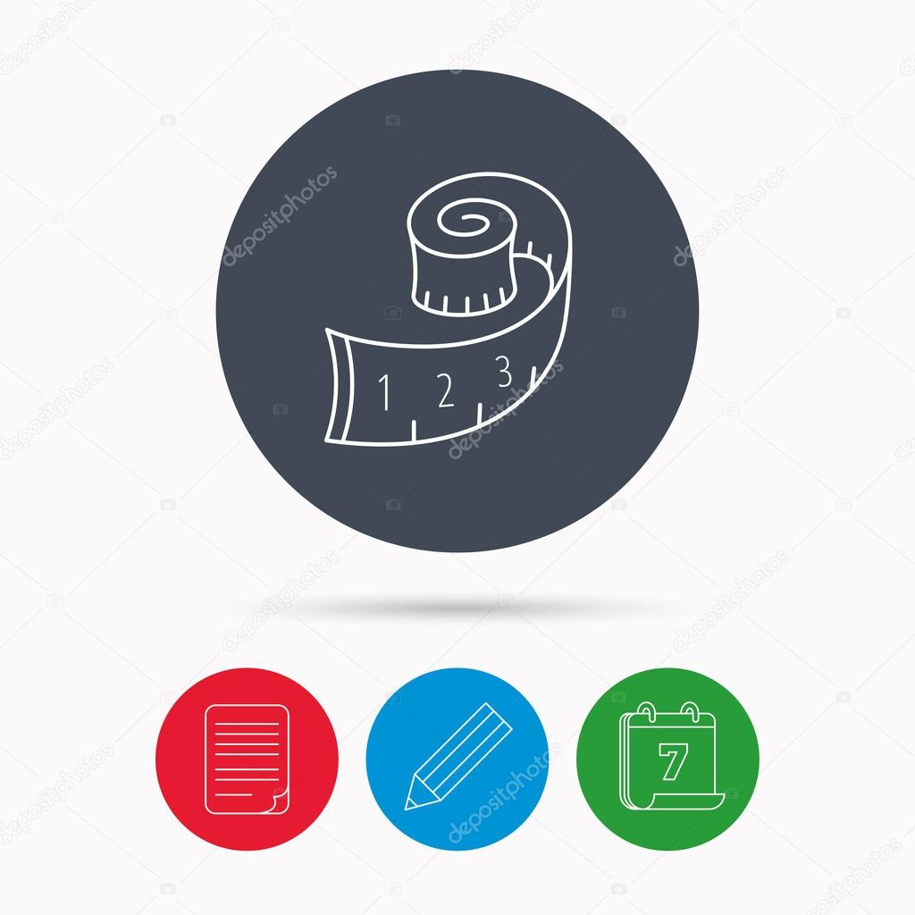 Measuring Tape Icon Weight Loss Sign Stock Vector Tanyastock Diagram Calendar Pencil Or Edit And Document File Signs By