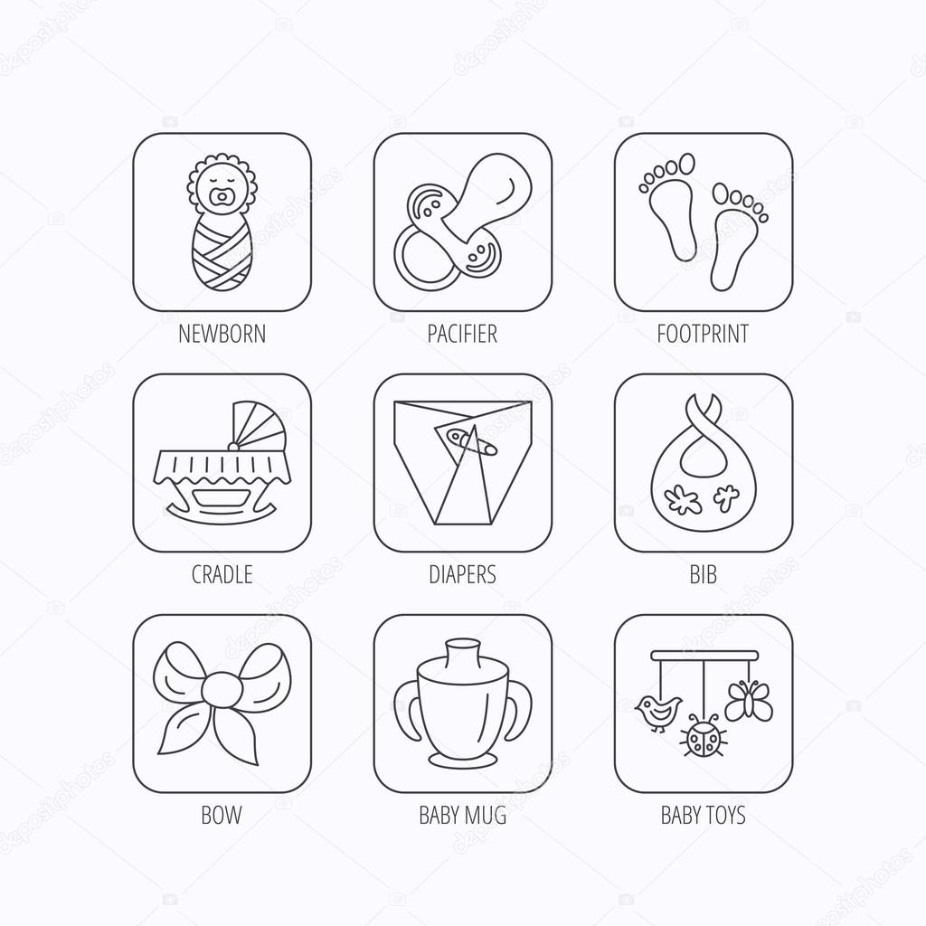 25e5d3fc5f1030 Pacifier, newborn and baby toys icons. Footprint, diapers and cradle bed  linear signs. Mug, dirty bib flat line icons. Flat linear icons in squares  on white ...
