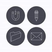 Fotografie Symbole für Ordner, Bleistift und Post Umschlag