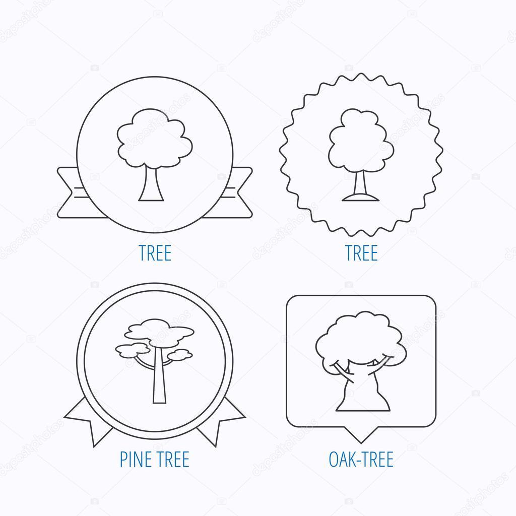 Pine tree, oak-tree icons.
