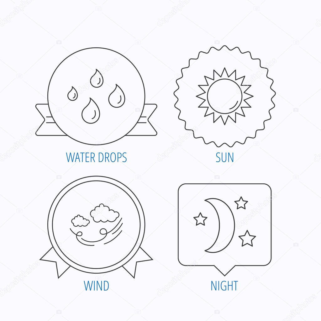 Weather, sun and wind icons.