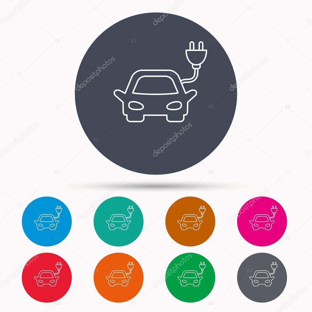 Electric Car Icon Hybrid Auto Transport Sign Stock Vector Diagram