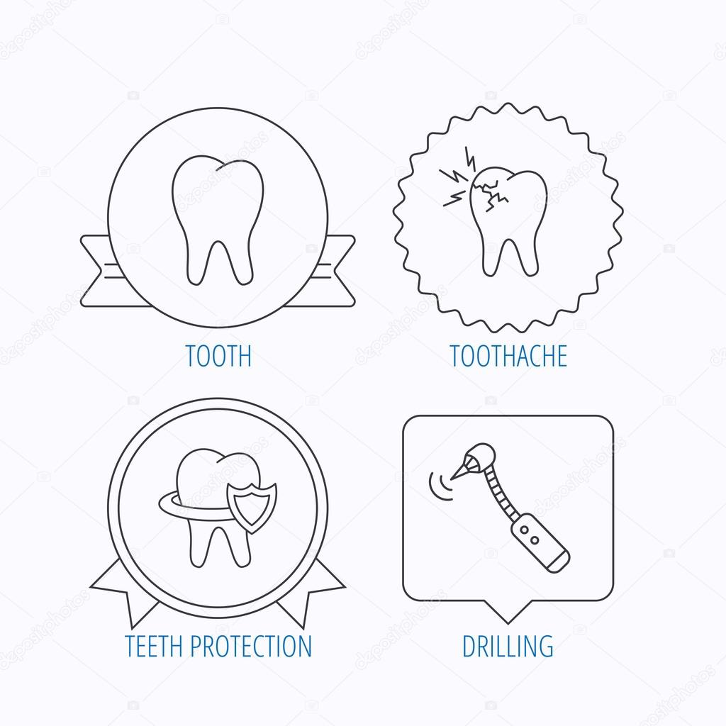 Zahn Zahnschmerzen Und Bohren Symbole Stockvektor C Tanyastock