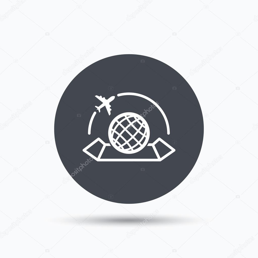 World map icon plane travel sign stock vector tanyastock world map icon globe with airplane sign plane travel symbol flat web button with icon on white background gray round pressbutton with shadow gumiabroncs Gallery
