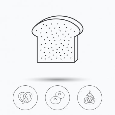 Cake, pretzel and bread rolls icons.