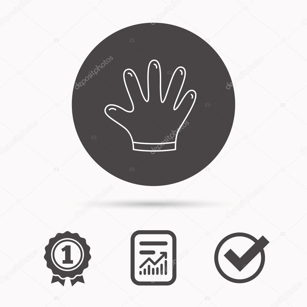 Rubber gloves icon latex hand protection sign stock vector latex hand protection sign housework cleaning equipment symbol report document winner award and tick round circle button with icon vector vector by biocorpaavc