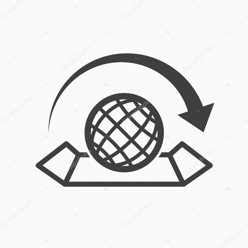 World map icon globe with arrow sign stock vector tanyastock world map icon globe with arrow sign stock vector gumiabroncs Image collections