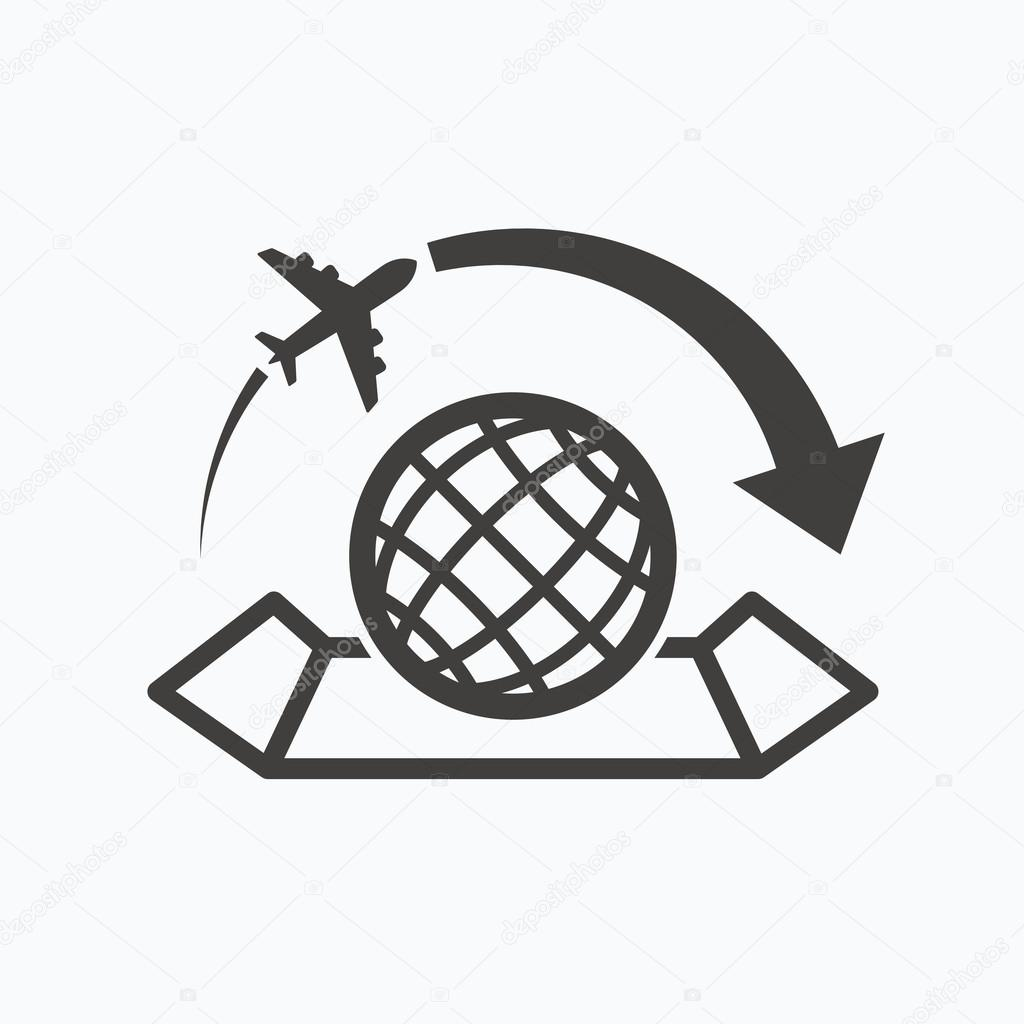 World map icon plane travel sign stock vector tanyastock world map icon globe with arrow sign plane travel symbol gray flat web icon on white background vector vector by tanyastock gumiabroncs Gallery