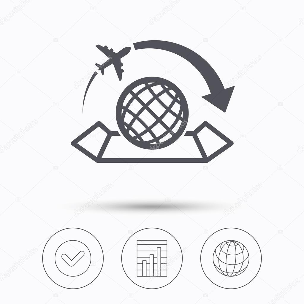 World map icon plane travel sign stock vector tanyastock world map icon globe with arrow sign plane travel symbol check tick graph chart and internet globe linear icons on white background gumiabroncs Gallery