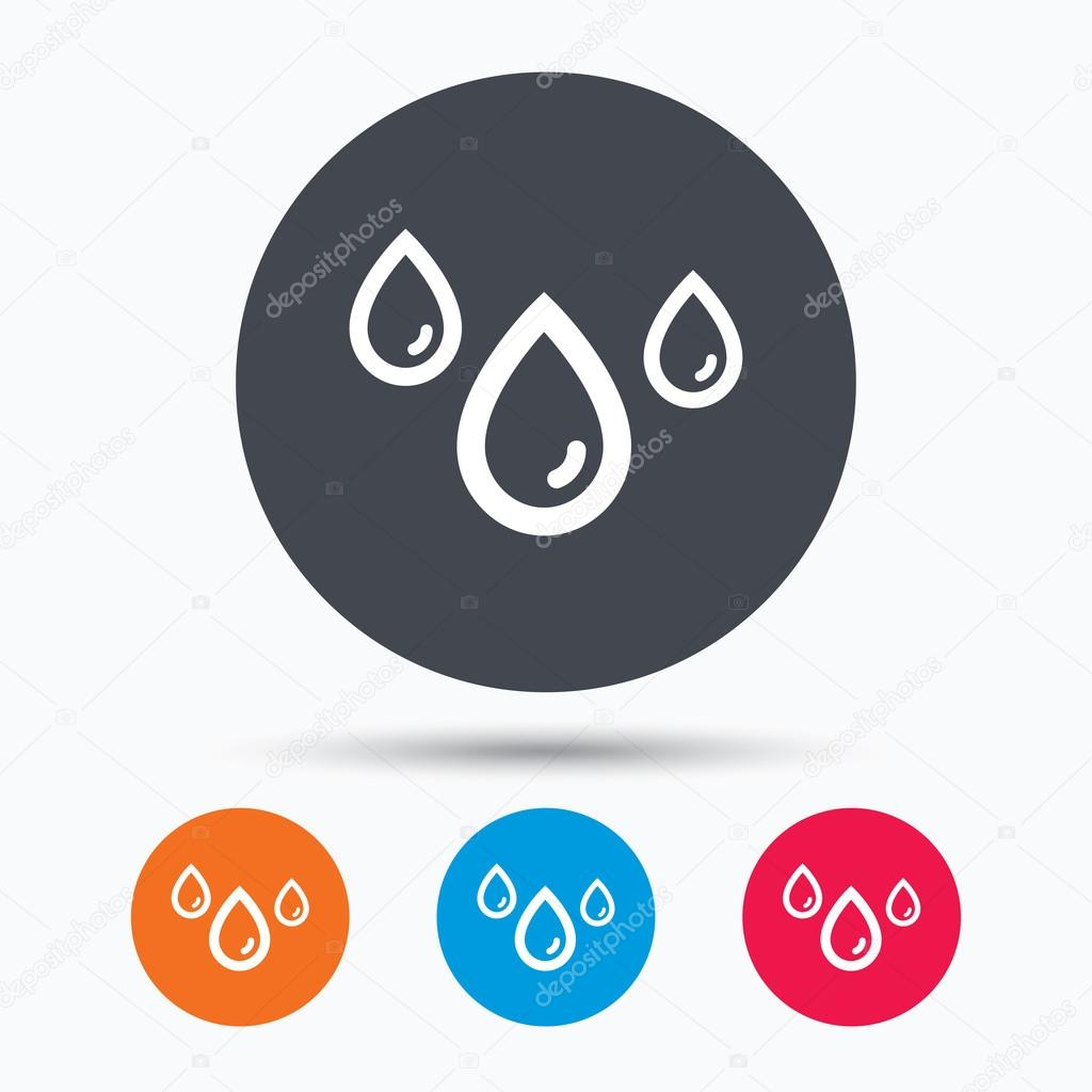 Water drop icon. Rainy weather sign.