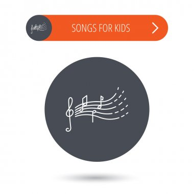 Songs for kids icon. Musical notes, melody sign.