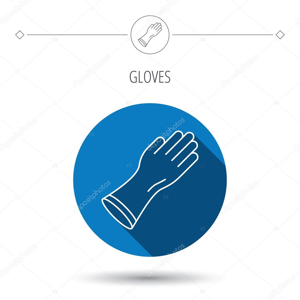 Rubber Gloves Icon Latex Hand Protection Sign Stock Vector