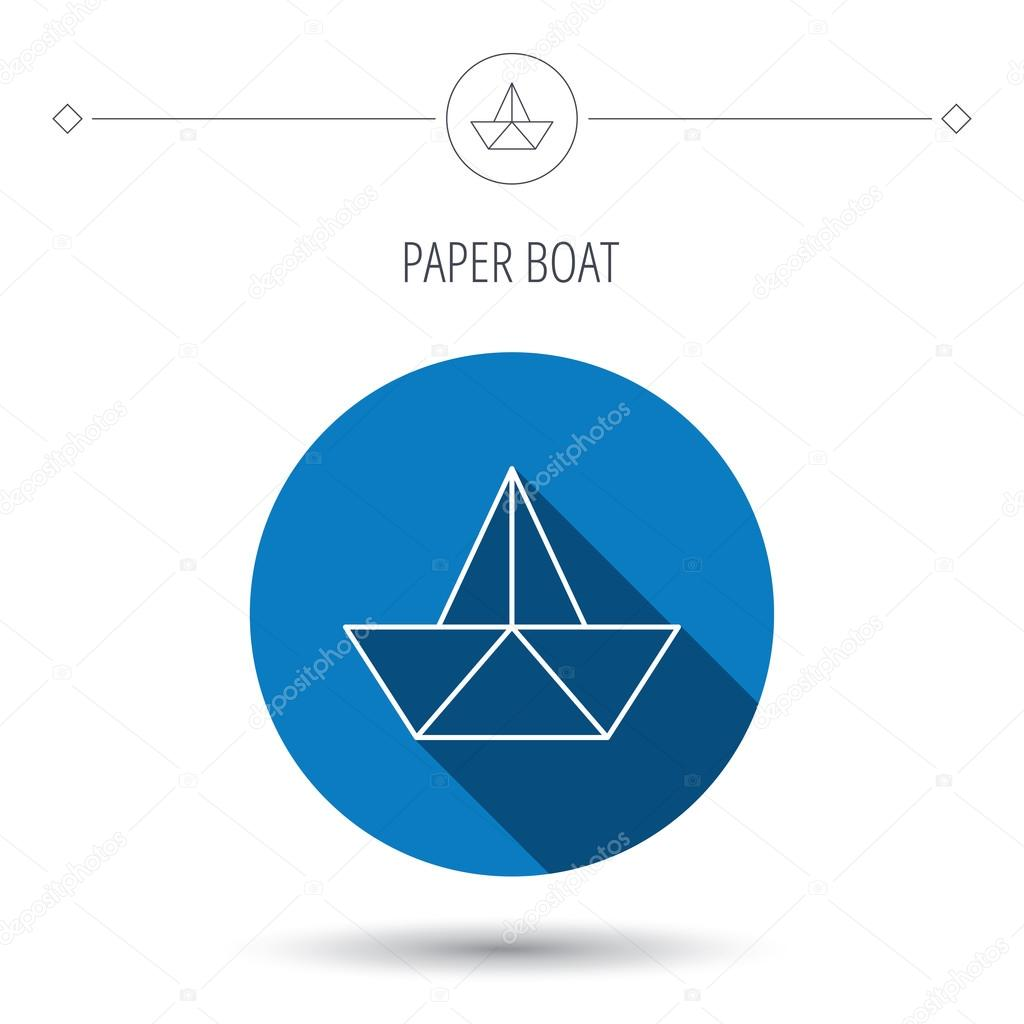 Paper boat icon origami ship sign stock vector tanyastock paper boat icon origami ship sign sailing symbol blue flat circle button linear icon with shadow vector vector by tanyastock buycottarizona
