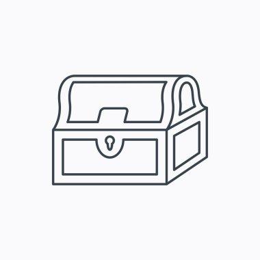 Treasure chest icon. Piratic treasury sign.