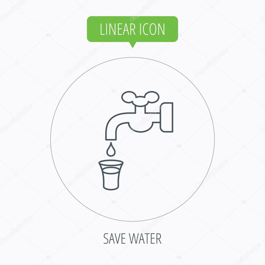 Save water icon. Crane with drop sign.