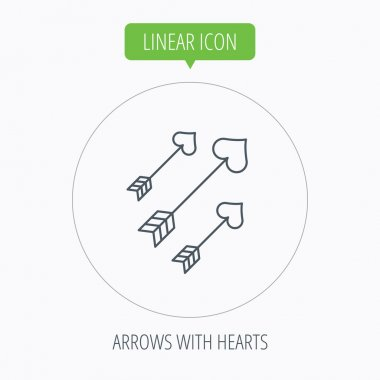 Love arrows icon. Amour equipment sign.