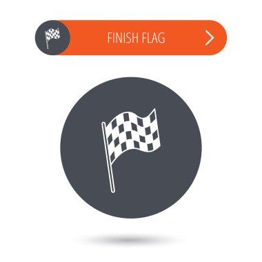 Finish flag icon. Start race sign.