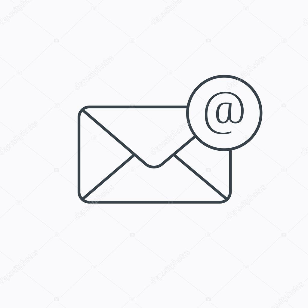 Envelope Mail Icon  Email Message With At Sign   U2014 Stock