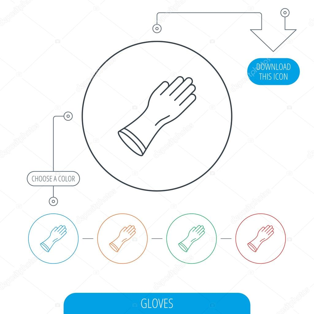 Rubber gloves icon latex hand protection sign stock vector latex hand protection sign housework cleaning equipment symbol line circle buttons download arrow symbol vector vector by tanyastock biocorpaavc