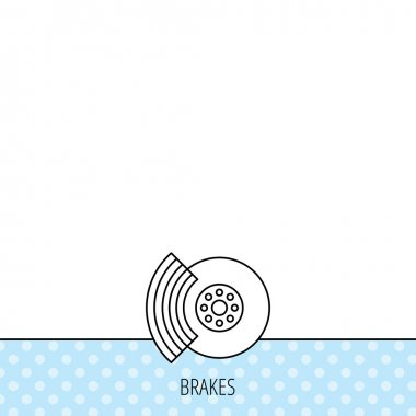 Brakes icon. Auto disk repair sign.