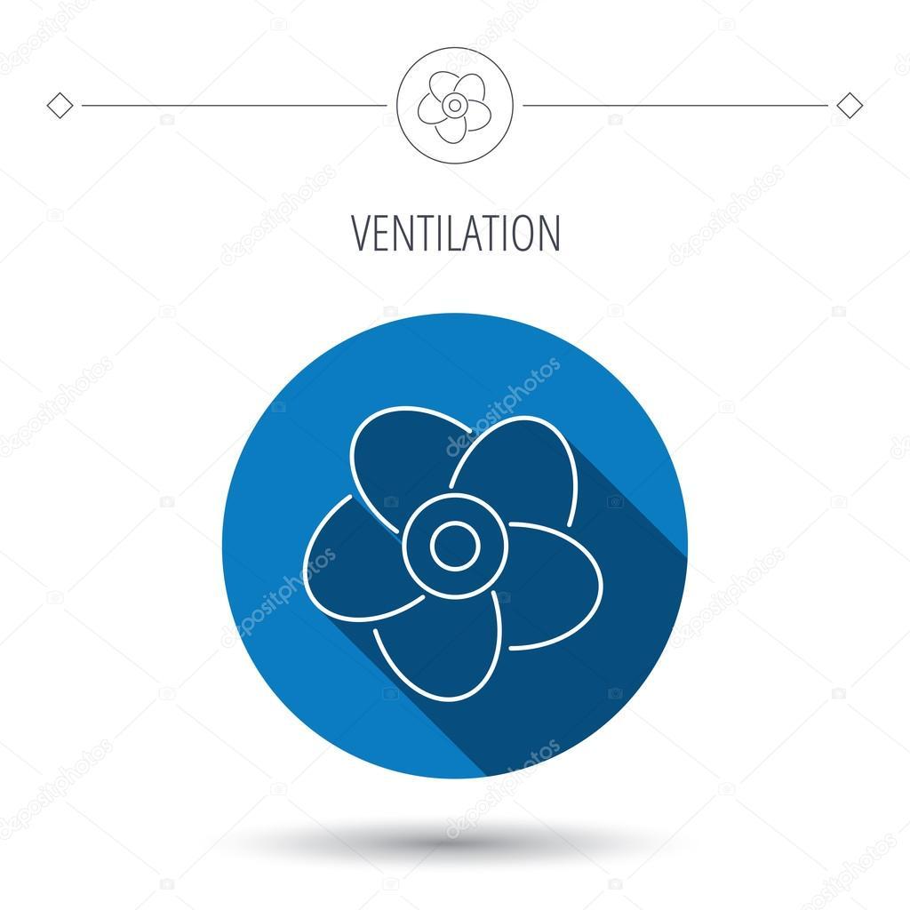 Ventilation-ikonen. Fläkt eller propeller tecken — Stock Vektor ...