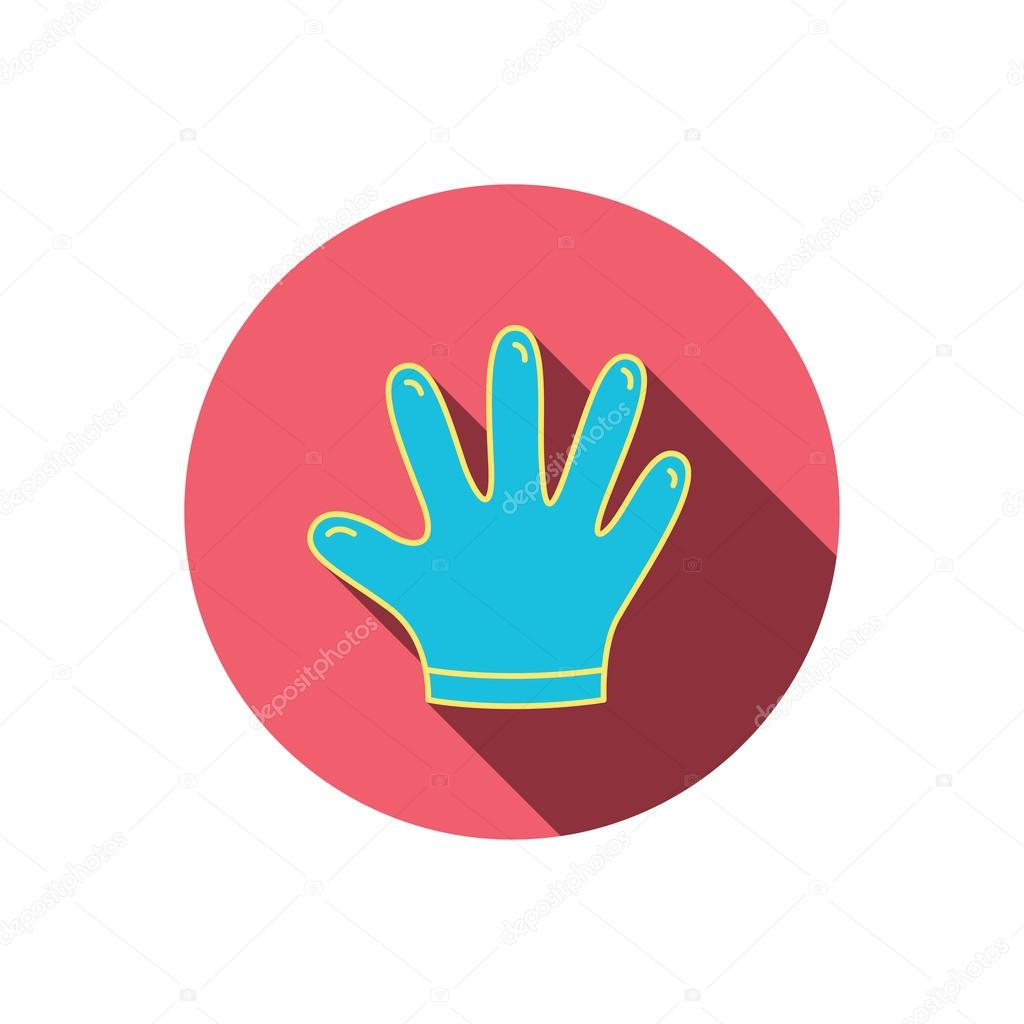 Rubber gloves icon latex hand protection sign stock vector latex hand protection sign housework cleaning equipment symbol red flat circle button linear icon with shadow vector vector by tanyastock biocorpaavc