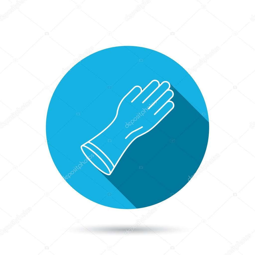 Rubber gloves icon latex hand protection sign stock vector latex hand protection sign housework cleaning equipment symbol blue flat circle button with shadow vector vector by tanyastock biocorpaavc