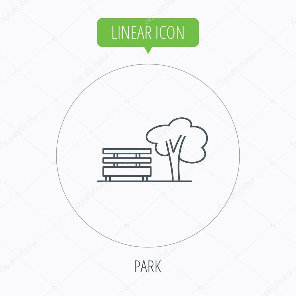 Icône De Parc Public Arbre Avec Signe De Banc Image Vectorielle