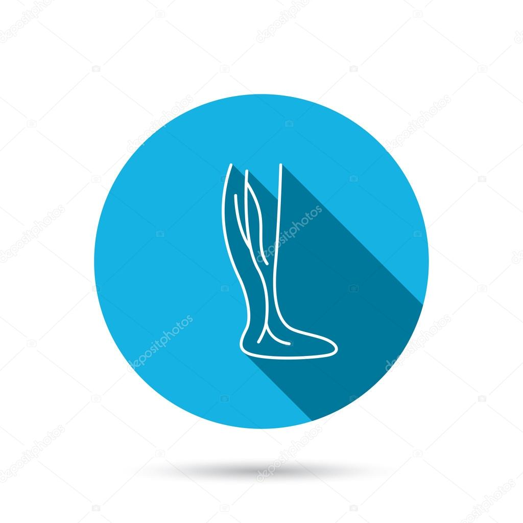 Phlebology icon. Leg veins sign.