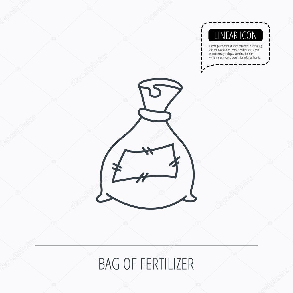Bag with fertilizer icon. Fertilization sack.